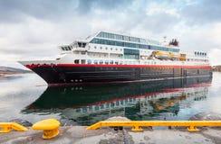 Big modern Norwegian passenger cruise ship. Enters the port stock image