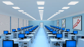 Big modern office with a lot of workplaces and computers. Empty big modern office with a lot of workplaces and computers. 3d illustration Royalty Free Stock Images