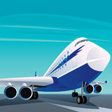 Big modern passenger plane on the runway stock illustration