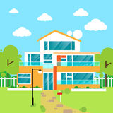 Big modern villa house flat design vector. Illustration Stock Images