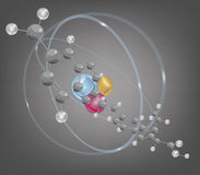 Big molecule and atomic structure Royalty Free Stock Image