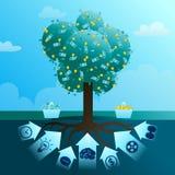 Big monetary tree of business. The big monetary tree of business which is grown up by means of the money enclosed mind, creativity, efforts, time, negotiations Royalty Free Stock Image
