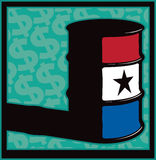 Big Money Barrel Racing. Vector Illustration of a barrel painted up in rodeo colors with dollar signs in the back ground Stock Photo