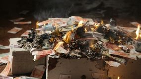 Big money bills are burning stock video footage