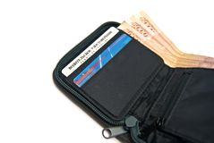 Big money and credit cards in wallet Stock Images