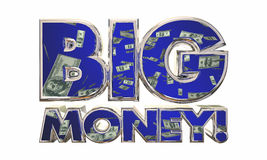 Big Money Earn Income Revenue Jackpot Words. 3d Illustration Royalty Free Stock Photography