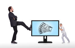 Big monitor with money Stock Photography