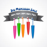Big Monsoon sale banner for different discounts Stock Image