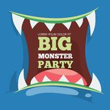 Big monster party banner with vector monster royalty free illustration