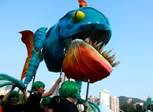 Big Month Fish in Grand Finale Parade. Standard Chartered Arts in the Park Mardi Gras is one of Hong Kong's largest and most vibrant annual community arts Stock Photography