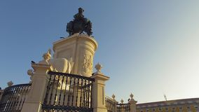 Big monument in the center of Comercio Square Lisbon - LISBON / PORTUGAL - JUNE 14, 2017. Big monument in the center of Comercio Square Lisbon - LISBON, PORTUGAL stock video footage