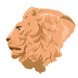 Big monumental profile of lion head. – imposing lord of animals – symbol of kingdom – beauty ocher leo - flatten isolated illustration master vector Stock Images