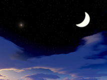 Big Moon. Evening stars in the sky. Crescent moon vector illustration