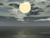 Big moon. Big white moon in the dark place Royalty Free Stock Image