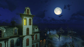 Big moon above scary mansion at night. Fantastic big moon in a dark sky above scary abandoned haunted mansion surrounded by creepy dead trees at misty night Stock Photos