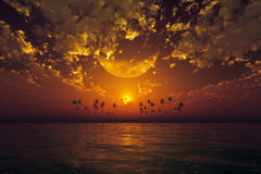 Big moon in clouds orange. Big moon in clouds over orange sunset at tropical sea stock illustration