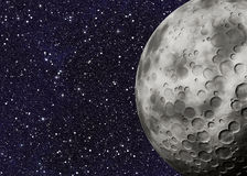 Big moon with craters on a space backgrounds Royalty Free Stock Images