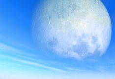 Big moon on day sky Stock Images