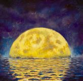 Big moon. Original acrylic painting A large glowing moon is reflected in water, sea, ocean. Night landscape with a big moon on a b vector illustration