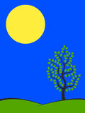 Spring Night. Big moon over green hills with tree at spring night. nature landscape Stock Photo