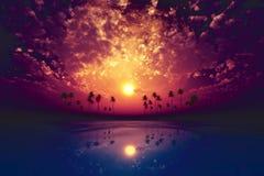 Big moon over purple sunset Royalty Free Stock Image