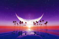 Big moon over purple sunset Stock Image