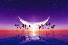 Big moon over purple sunset Stock Image