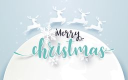 Big Moon and Reindeer with Merry Christmas text on soft blue background. Paper art and craft Style stock illustration