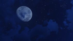 Big moon and stars in night sky Royalty Free Stock Image