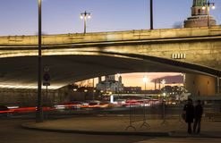 Big Moskvoretsky bridge at Night in a Moscow, Russia Royalty Free Stock Photo