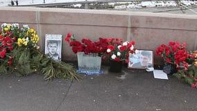 Big Moskvoretsky bridge, a place of Boris Nemtsov murder. Moscow, Russian Federation – February 05, 2016: Big Moskvoretsky bridge, a place of Boris Nemtsov stock footage