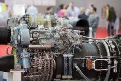 Big motor of helicopter on exhibition Royalty Free Stock Photos