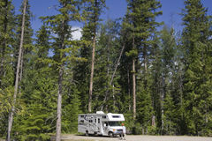 Big Motorhome with owner in the woods Stock Image