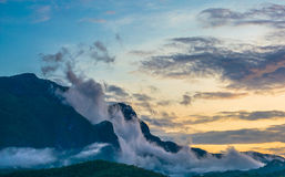 The big mountain  and blue sky. With sunset Stock Image
