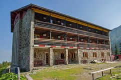 Big mountain chalet in Carpathians mountains with three floors Stock Photo
