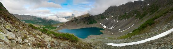 Big Mountain Lake. Seriate panorama of a large mountain lake in the glacial moraine Royalty Free Stock Images