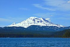 Big Mountain Mama. View of South Sister peak from Elk Lake - Cascade Range - near Bend, OR royalty free stock photos