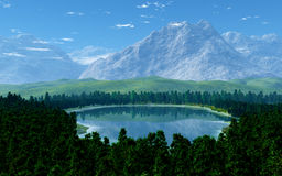 Big Mountains. This image shows a idyllic landscape with big mountains stock illustration