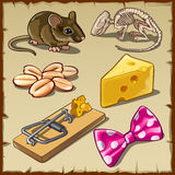 Big mouse set and symbols, cheese and other Royalty Free Stock Photo