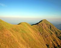 Big moutain 'Chang-Peauk' of Thailand. Ridge is one part on Chang-Peauk Moutain.It 's choice for treaking, its best view all time,It 's location Kancanaburi Stock Photo