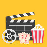 Big movie reel Open clapper board Popcorn box package Ticket Admit one. Three star. Cinema icon set. Flat design style. Yellow bac Stock Photography
