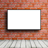 Movie screen in brick room. Big movie screen in brick room royalty free stock image