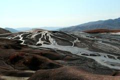 Mud volcanoes landscape in Buzau, Romania stock photography
