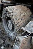 Big Muddy Wheel. Close up of a big muddy construction vehicle wheel Stock Photos