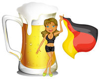 A big mug of beer at the back of a lady holding the flag of Germ Royalty Free Stock Photography