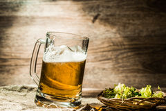 Big mug of beer standing on empty wooden background Royalty Free Stock Image