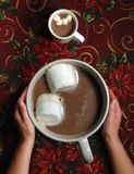 Big Mug of Chocolate. Oversize cup of hot chocolate and small cup of hot chocolate royalty free stock photo