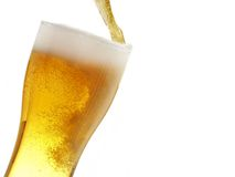 Big mug fill with beer. Isolated over white background stock photos