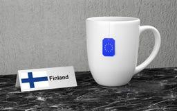 Big mug with tea. Big mug and label with EU country flag. 3D rendering Stock Photography