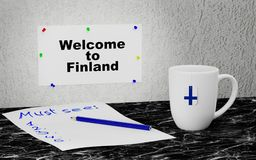 Welcome to Finland. Big mug and label on the wall with text Welcome to Finland. 3D rendering Royalty Free Stock Images